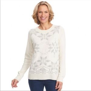 Woolrich NWT Snowdrop Sweater Knit Snowflakes XL